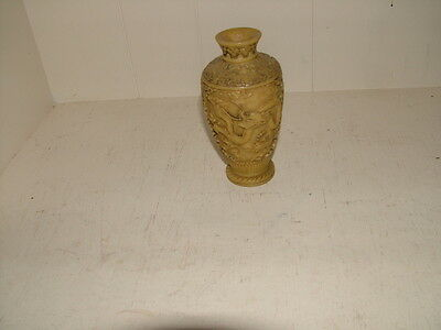 Antique Chinese carved lacquer porcelain hand painting Dragon vase 6.5inch tall