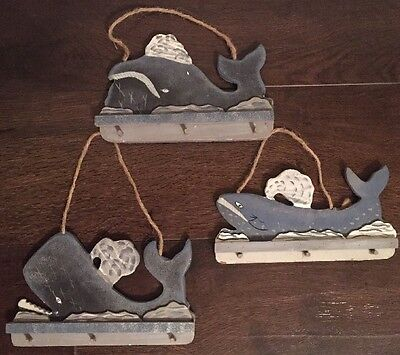 Wooden Whale Wall Hanging Distressed Decor Nautical CHOICE OF ( 1 ) 🐳