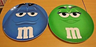 M&M Candy Plastic Plates Green & Blue Character