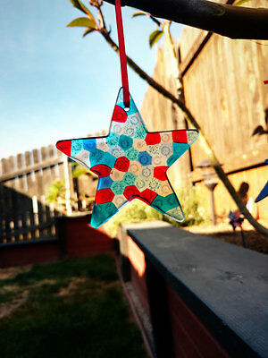 4 Red, White & Blue July 4th STAR Ornaments