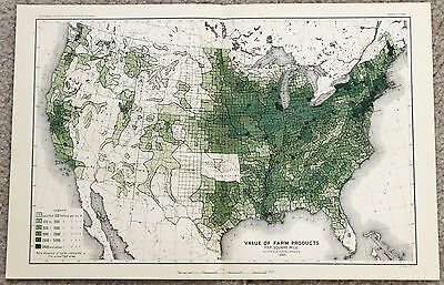 1890 United States Map Farming Agriculture Value of Farm Products Original