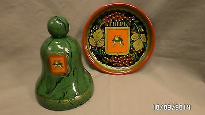 252M Bihar India? TBEPL Ceramic Dish & Wood Bell w/Crown Emblems Handpainted EXC