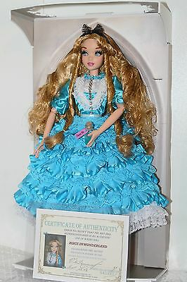 "Disney Alice in wonderland doll OOAK 17"" Limited Edition Mint in Box COA Muneca"