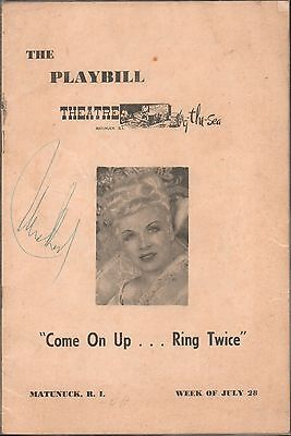 "Vintage 1952 Mae West Autographed Playbill by the Sea ""Come on Up..Ring Twice"""