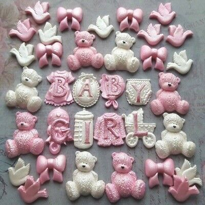 33 Edible Sugar Paste Baby Shower Christening Nursery Cake Toppers Decorations