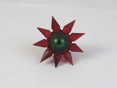 Vintage Matchless Star Glass Christmas Light Bulb  Red & Green