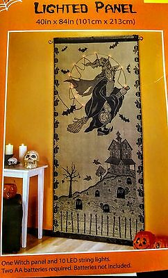 Wiccan Gothic Christmas Gift Lighted LED Black Lace Panel Curtain Witch  NEW!