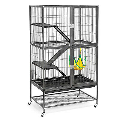 5 Level Metal Cat Ferret Rabbit Cage Hutch Hamster Hammock Enclosure Divider