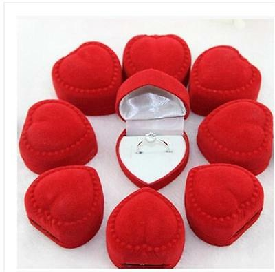 10PCS Velvet Cover Red Heart Shaped Jewelry Ring Show Display Storage Box Gift S