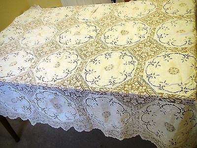 Antique Tablecloth Linen Lace Victorian Embroidered White Square Table Cover