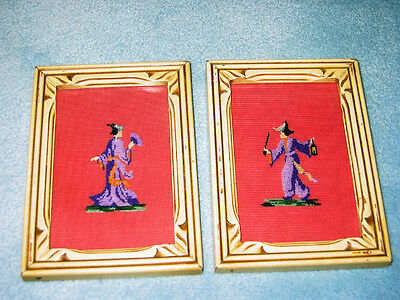 Vintage collectable 1940's  needlepoint oriental figures - framed