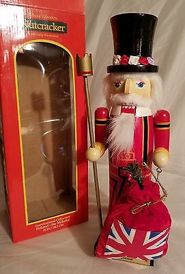"15"" Deluxe Wooden Nutcracker Individually Hand Crafted -Father Christmas England"