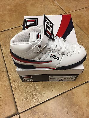 Fila Kids F13 White/navy/red Mid High Top Junior Sizes 3.5 To 7