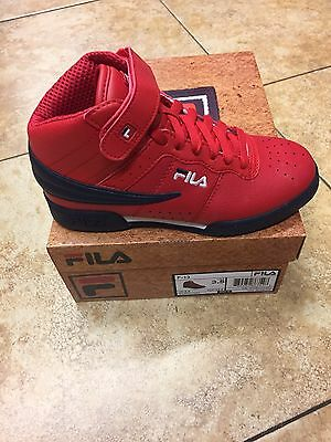 Fila Kid's Shoes F13 Mid High Top Red/navy/white Junior Sizes 3.5 To 7