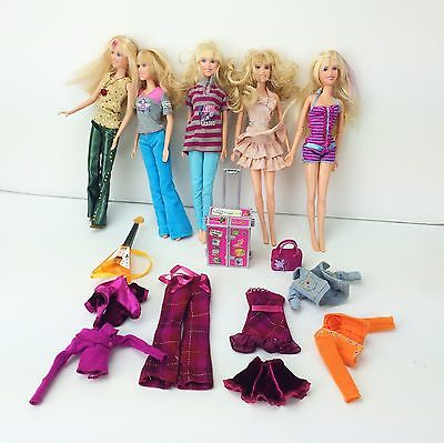 Lot of 5 HANNAH MONTANA BARBIE FASHION DOLLS w/ Extra Clothes Accessories