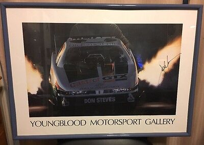 John Force Kenny Youngblood Autographed Signed Art Print NHRA Drag Racing COA GA