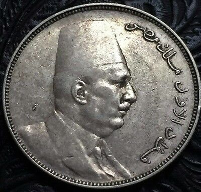 Egypt, 1923 With H  Silver 10 Piastres. King Fouad. Xf. Rare.