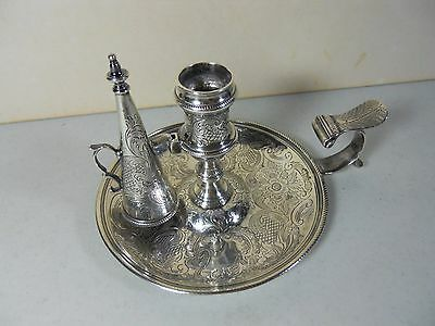 Antique Sterling Silver Chamber Candlestick W/ Snuffer Ebenezer Coke George III