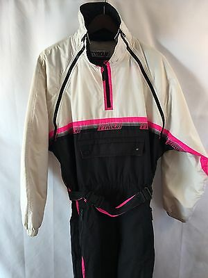 Vtg 80s TYROLIA Ski Suit Men Sz Medium Neon Pink Onesie Snow Bib Jacket Coat