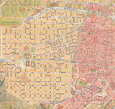 1912 Antique Map of Madrid, Spain