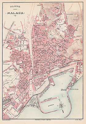 1912 Antique Map of Malaga, Spain