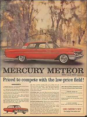 1961 Vintage ad for Mercury Meteor 600` 2-door Red Photo(101016)