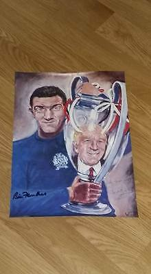 Authentic Signed Sir Matt Busby + Bill Foulkes Man United Print. Real Sigs. Coa