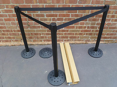 New Black Powder Coated Retractable Belt Barriers / Crowd Control Barriers