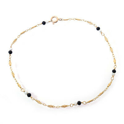14K Yellow Gold Ankle Bracelet With Black and White Beads