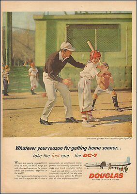 1950's Vintage ad for Douglas DC-7 Photo Boy Baseball (101016)