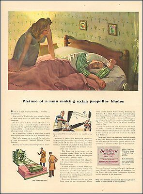 1940's Vintage ad for Beautyrest Mattress Art John Falter (101016)