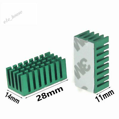 5pcs 28x14x11mm Green Aluminum Heat Sink Adhesive Tape For Memory Chipset Cooler