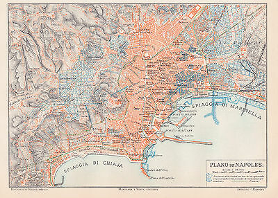 1912 Antique Map of Naples, Italy