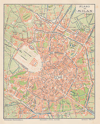1912 Antique Map of Milan, Italy