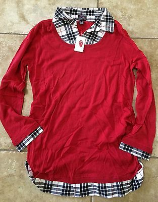 Oh Baby Maternity Motherhood Extra Large XL Fall Red & Plaid Sweater Nwt Sexy