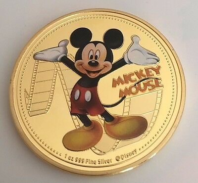 Mickey Mouse 2015 MICKEY & FRIENDS 1OZ SILVER Gold Plated COIN New Zealand