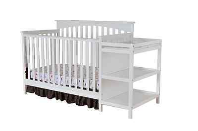 Dream On Me Chloe 5 in 1 Convertible Crib with Changer in White