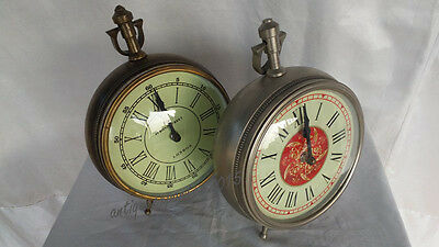 """PAIR OF 10"""" Christmas Halloween Nickle and Brass Finish Maritime desk clock"""