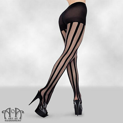 Gothic Black Sheer VERTICAL STRIPED PANTYHOSE Stripe Tights PLUS SIZE Burlesque