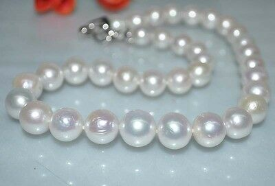 Very high luster furrow round white thick 11-14mm 18''kasumi pearl Necklace