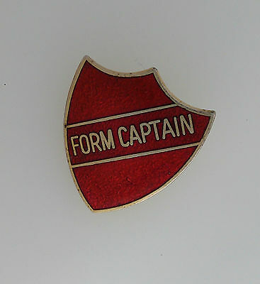 Pre-Owned Red Shield Shaped Form Captain Metal Enamelled School Badge Fattorini