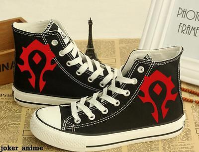 WOW World of Warcraft High Canvas Shoes Casual Trainers Women Men Fashion Black