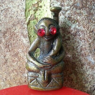 Phra Ngang Statue Bronze Red Eyes Buddha Amulet Khmer Style Fertility Love Rare!