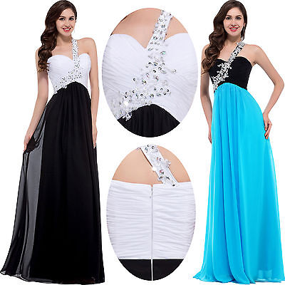 Black Long Formal Evening Dresses Wedding Party Ball Gown Prom Bridesmaid Dress