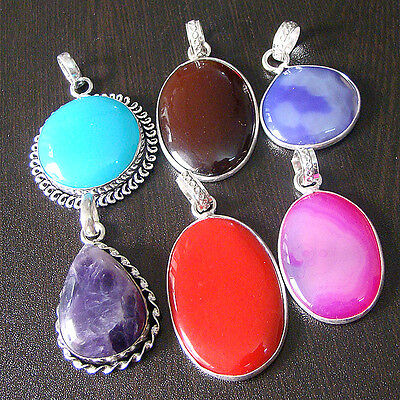 Classy Mix Gemstone 6 Pcs Silver Plated Wholesale Pendant Lot  S1082
