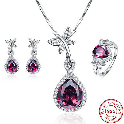 AAA Spessartine Garnet Ring+Necklace+Earrings S925 Sterling Silver Jewelry Sets