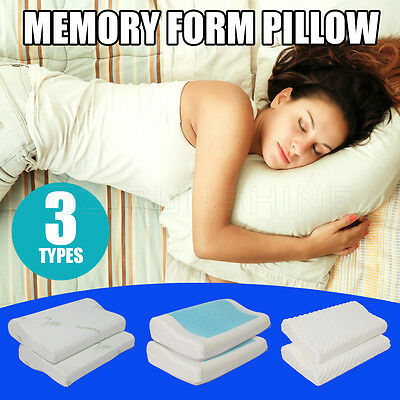 2X BAMBOO/GEL/ELASTIC Memory Foam Pillow Contour Supreme High Density With Cover