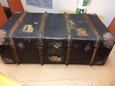 Antique Bentwood/ Leather Travel Trunk