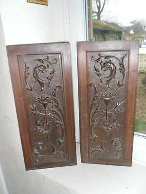Antique French Archtictural Carved Wood  2 Panel Dragon Griffin 19 th