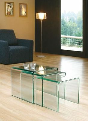 12mm Tempered nest Glass Coffee Table Hot Bent Side tables Set of three(3)